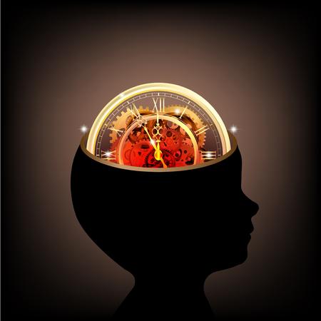 歯車と考えベクトルを一緒に作業時間の人間の頭