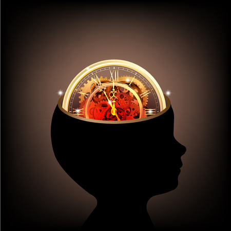 de tijd menselijk hoofd met versnellingen en KPV werken samen idee vector Stock Illustratie