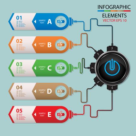 장 전기: vector abstract paper info graphics, power charger, battery charger, web design 일러스트