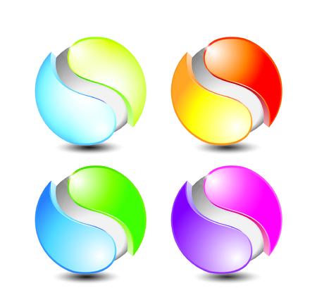 abstract template: 3D logo design vector, vector Illustration