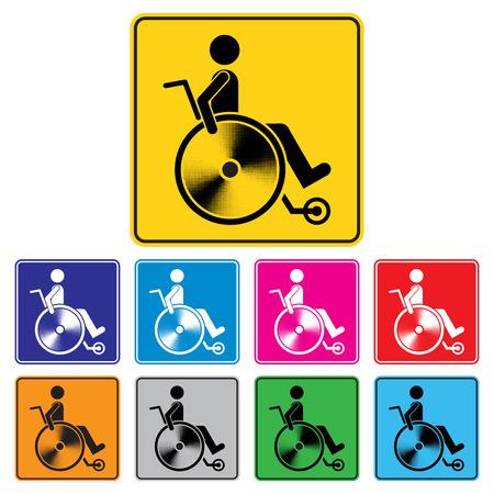 handicap sign: Disabled person warning sign, handicap sign set, Illustration vector