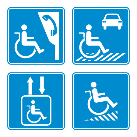 handicap: Disabled person warning sign, handicap sign type, Illustration vector