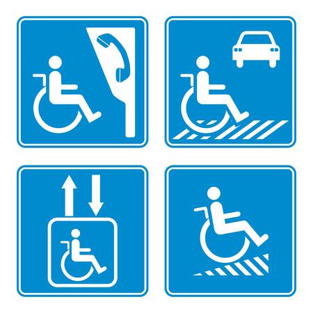 handicap sign: Disabled person warning sign, handicap sign type, Illustration vector
