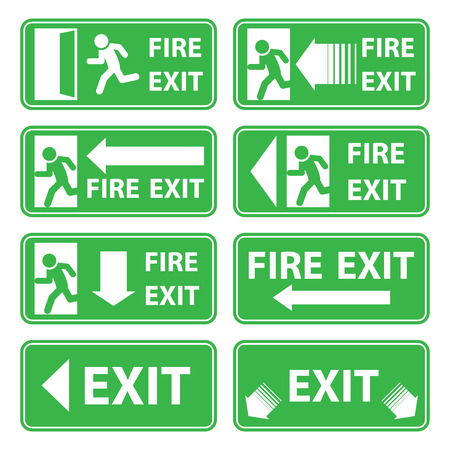smoke alarm: vector emergency exit signs set on green background Illustration