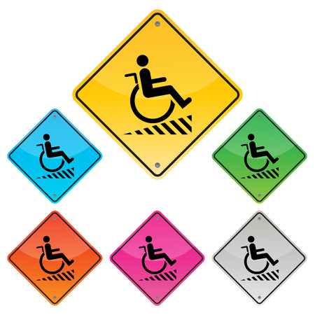 handicap sign: Disabled person warning sign, handicap sign, Illustration vector Illustration
