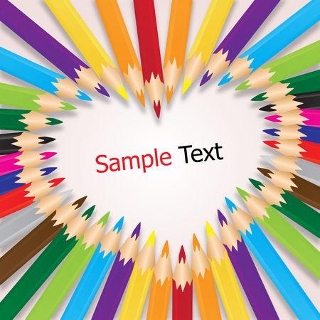 crayons: colorful crayons sort are heart, background vector Illustration