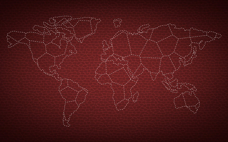 Dotted mapa świata na tle skóry wektorze