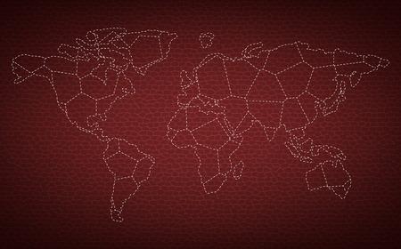 Gepunktete Weltkarte auf Leder Hintergrund Vektor