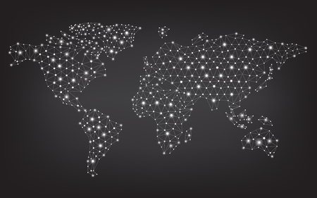 サークル、ラインとグラデーション ベクター デザインの抽象通信世界地図