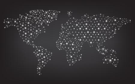 Abstract telecommunicatie wereldkaart met cirkels, lijnen en gradiënten, vector ontwerp Stock Illustratie