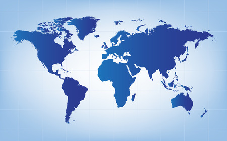 south asia: the blue world map vector background