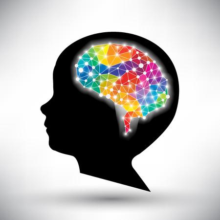 colorido concepto del cerebro humano de vectores de fondo Ilustración de vector
