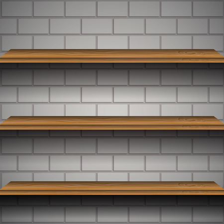 wooden shelves: Wooden shelves with brick wall vector illustration