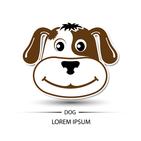 beatific: Dog face beatific smile logo and white background vector illustration Illustration