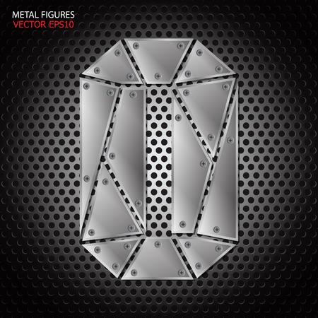aluminum: Metal figures zero vector on aluminum background Illustration