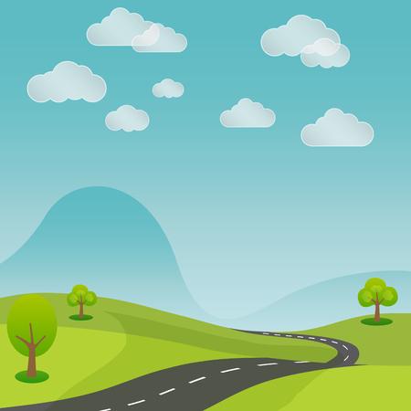 rural road: summer rural landscape road with nature background vector illustration Illustration