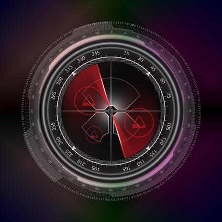 blip: radar screen display technology style background vector Illustration