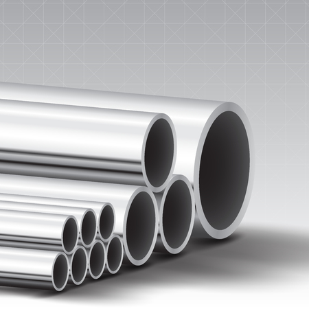 steel pipe: Stainless steel pipe vector background Illustration