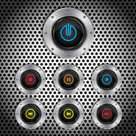 switches: Metal button, switches software controls, vector Illustration Illustration
