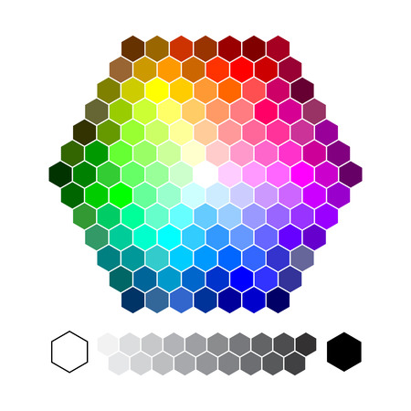 Color chart hexagon vector