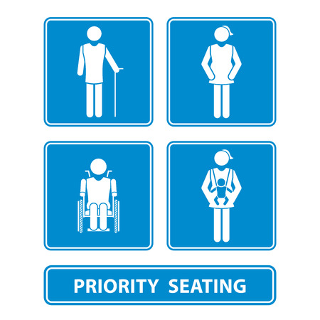 seating: priority seating sign vector illustration