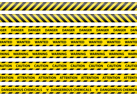 Ostrożność i niebezpieczeństwo, wstążka znak ilustracji wektorowych białe tło