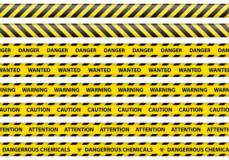 advertencia: Precauci�n y peligro se�al cinta de ilustraci�n vectorial de fondo blanco