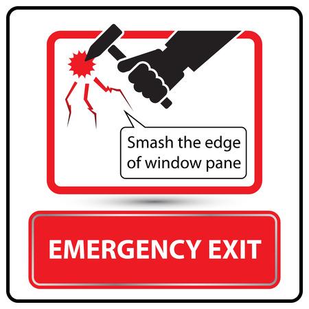 emergency exit label: Emergency exit label for bus vector illustration Illustration