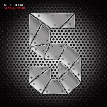 aluminum: Metal figures five vector on aluminum background