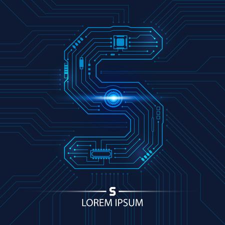 Résumé technologie futuriste et numéro cinq circuit board background illustration vectorielle