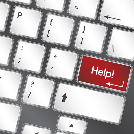 help button: help button on keyboard of laptop vector illustration
