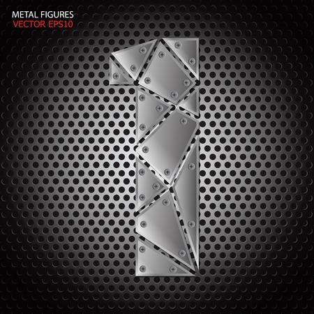 aluminum: Metal figures one vector on aluminum background Illustration