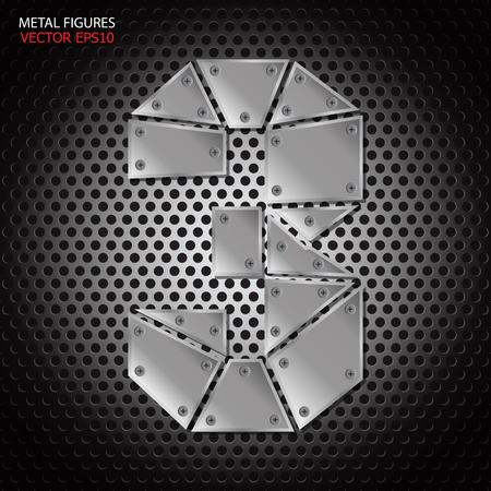 aluminum background: Metal figures three vector on aluminum background Illustration