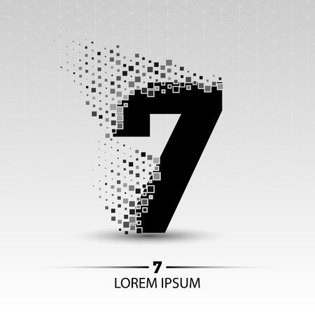Number seven  vector design illustration