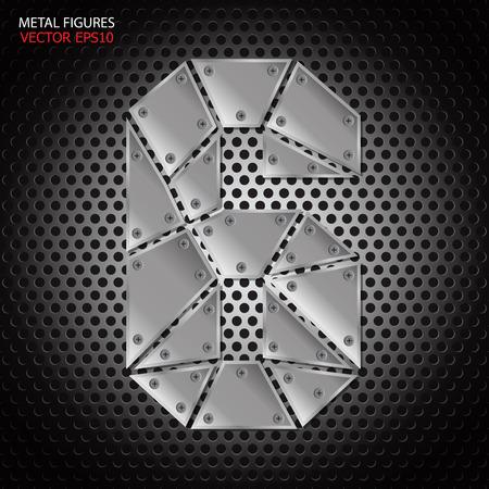 aluminum background: Metal figures six vector on aluminum background