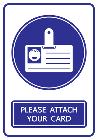 attach: please attach your card sign and symbol vector illustration
