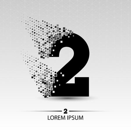 Number two  vector design illustration