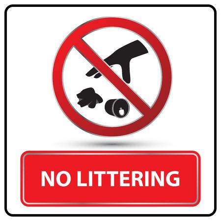 littering: no littering sign vector illustration