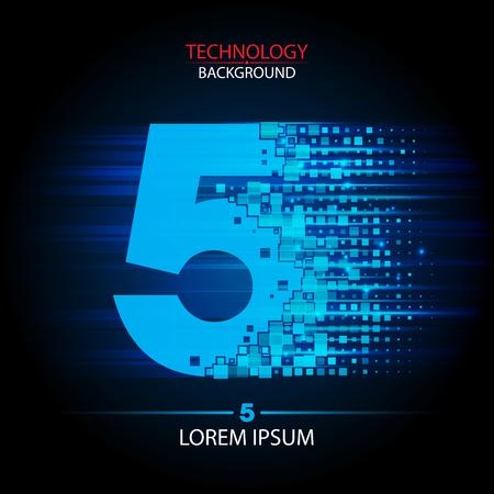 five elements: Number five  vector technology design