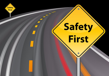 safety first: safety first sign, road background vector