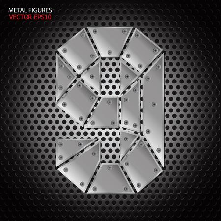 aluminum: Metal figures nine vector on aluminum background