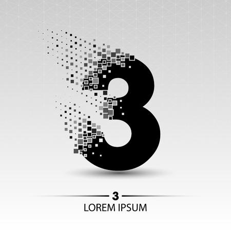 Nummer drie vector ontwerp illustratie Stock Illustratie