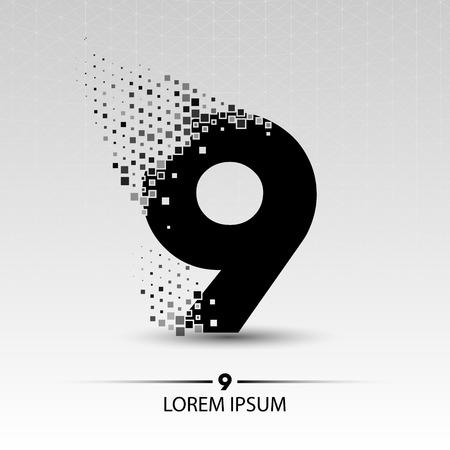 numero nueve: El número nueve vector de ilustración, diseño