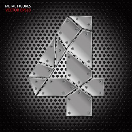 aluminum background: Metal figures four vector on aluminum background