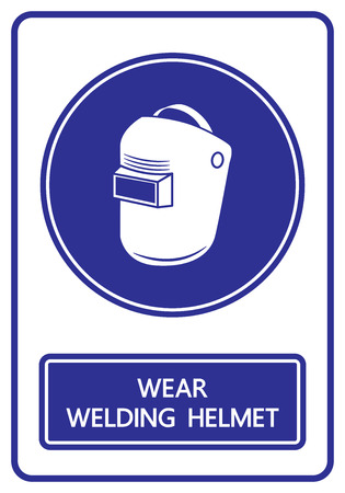 wear welding helmets sign and symbol vector illustration Illustration