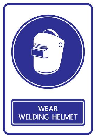 warning icon: wear welding helmets sign and symbol vector illustration Illustration