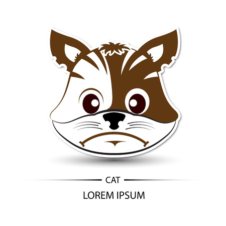 frown: Cat face frown and white background illustration