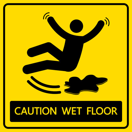 slippery floor: caution wet floor sign and symbol illustration Illustration