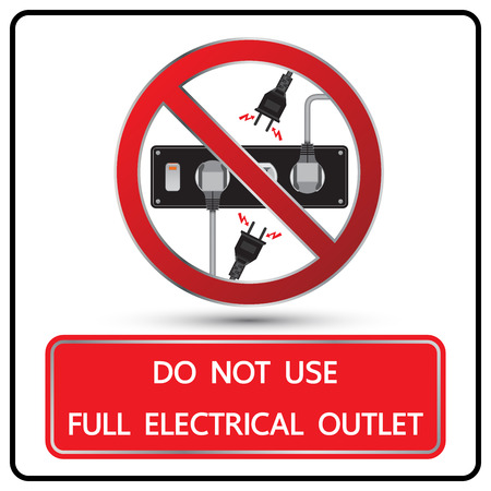 Do not use full electrical outlet sign and symbol illustration 矢量图像