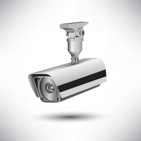 cctv security: CCTV security camera on white background illustration